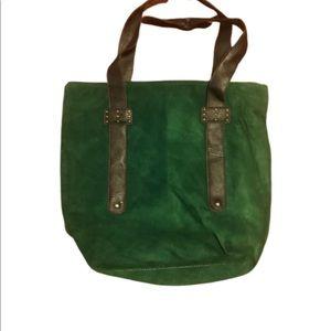 Emerald green corduroy hobo bag
